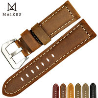 MAIKES New Design Vintage Nubuck Genuine Leather Watch Strap Brown With Silver Buckle Watch Accessories For
