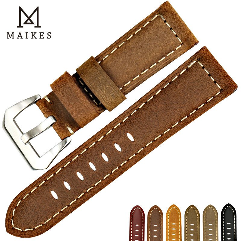 MAIKES New design vintage watch band for Fossil Genuine leather watch strap brown watch accessories for Panerai watchband рубашка в клетку insight back to zero fossil brown
