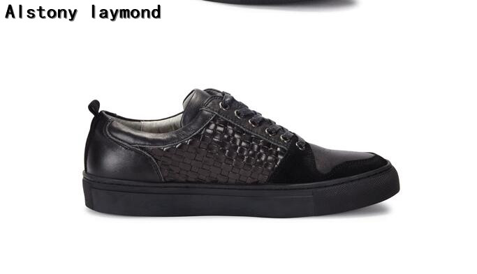 top fashion brand man casual shoes genuine leather 2017 spring autumn solid man casual shoes low top flats shoes balck 38-46