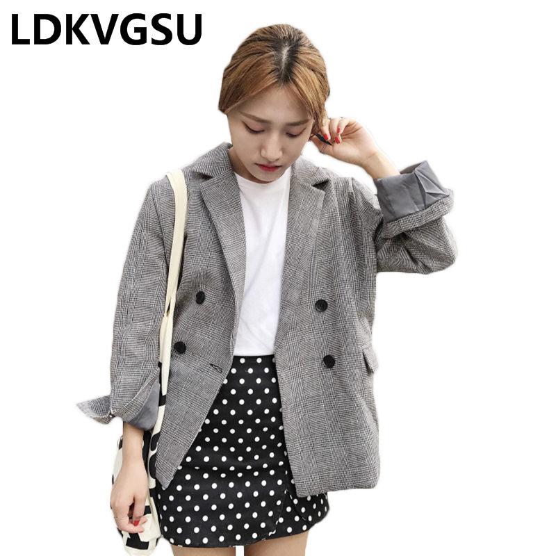 Высокое качество Для женщин элегантный пиджак 2019 Демисезонный новые модные женские двубортный короткий плед Повседневное пиджаки Is1547