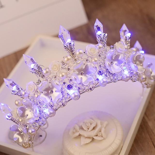Women New Crown Handmade LED Tiara Crystal Floral Headpiece Jewelry Light Crowns for Girls Headdress Wedding Hair Accessories