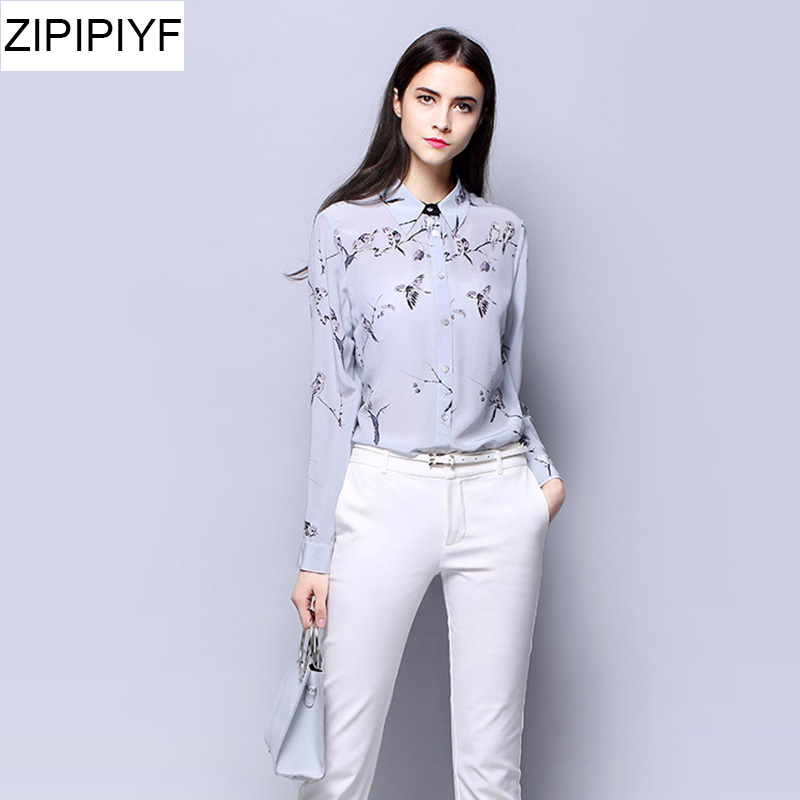 2018 Spring Vintage Women Silk blouses Chiffon Long Sleeve Cartoon Print Blouse Shirt Plus Size Tops