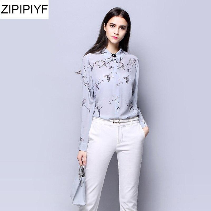 2018 Spring Vintage Women Silk blouses Chiffon Long Sleeve Cartoon Print Blouse Shirt Plus Size Tops Turn down Collar VXR111