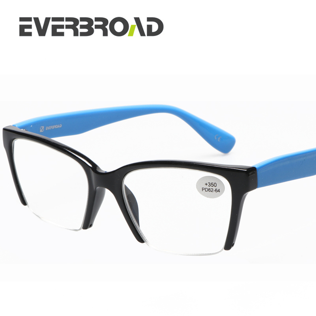 159441b025 Highly recommended Half Frame Blue Cat Eye Reading Glasses Women +5.00 Made  In China EV031726