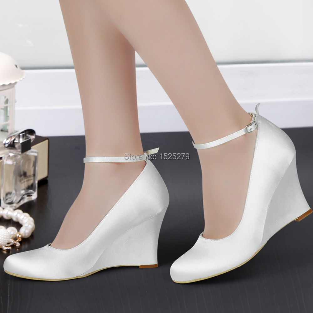 a610 ivory white women shoes bride formal bridal party pumps round closed toe wedge heel pleat