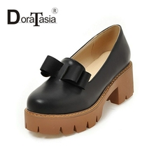 DoraTasia small Big Size 32-43 Round Toe med square Heels thick Platform Woman Pumps Leisure Bowtie Girls Dating Shoes Women