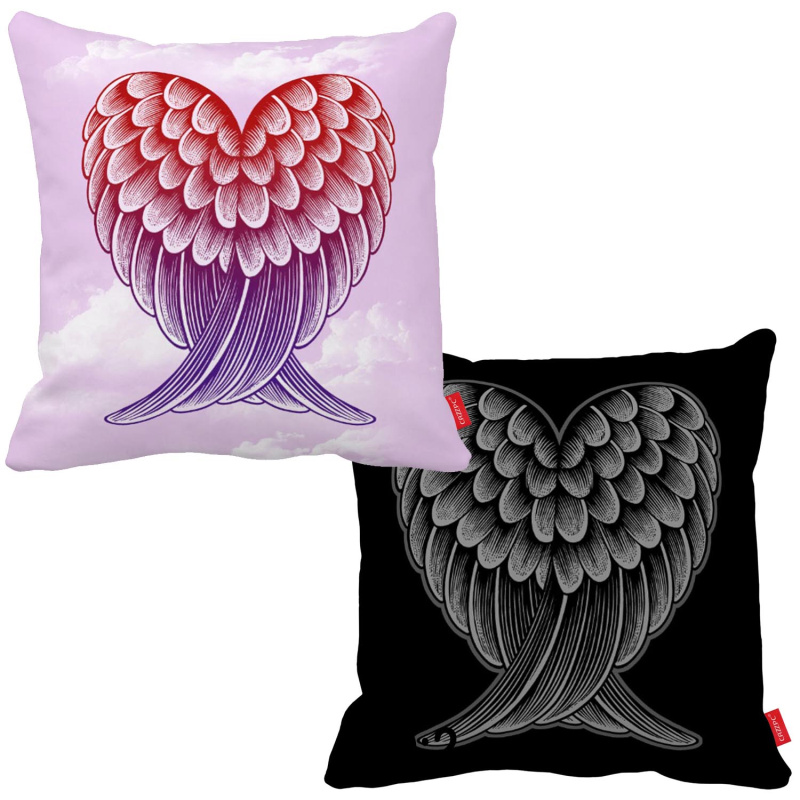 Pink Black Watercolor Sketch Angel Wings Print Car Decorative Throw Pillowcase Pillow Case Cushion Cover Sofa Home Decor