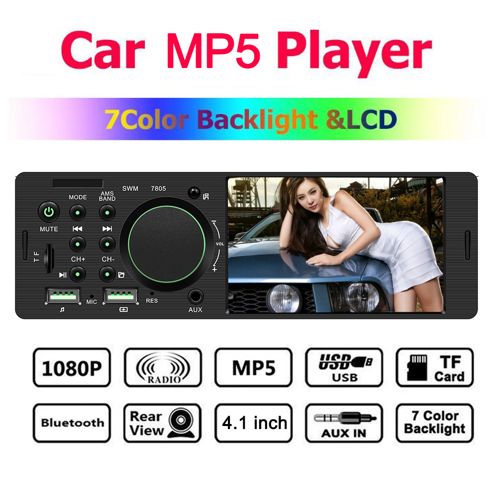 4.1 Inch TFT 1 Din Car Radio Audio Stereo FM Radio Bluetooth MP5 Player Connecting Rear View Camera With Xiaomi Remote Control image