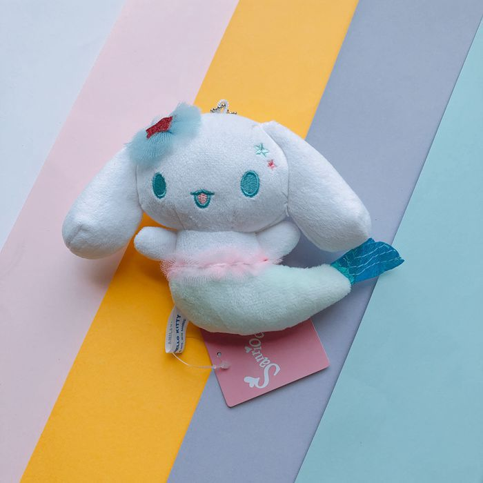 1pc my melody cinnamoroll pudding dog cosplay mermail arial plush pendant keychain for girls gifts