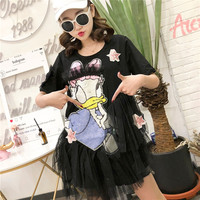 MUMUZI 2019 Summer New Thailand Fashion Women Clothing Sequined Cartoon cute Dress Patchwork Mesh Pink Dresses Asymetrical Dress