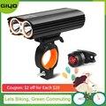 GYIO велосипедный фонарь Передняя 2400Lm фара 2 батареи T6 светодиоды велосипедный фонарь фонарик для велосипеда