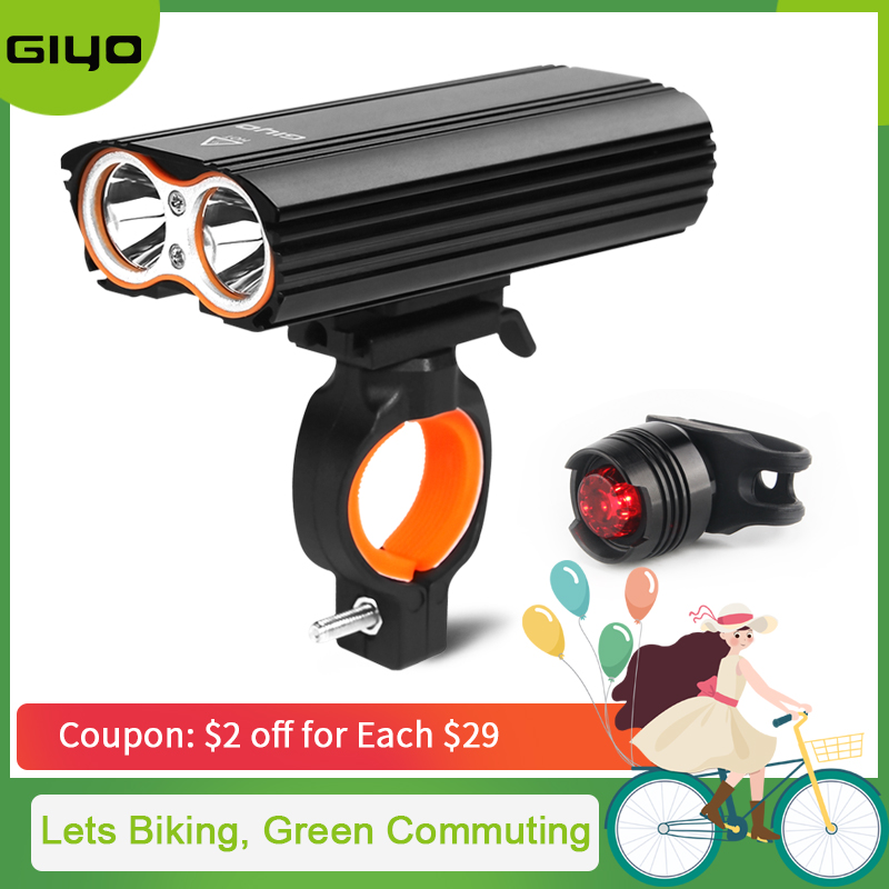 GYIO Bicycle Bike Light Front 2400Lm Headlight 2 Battery T6 Leds Cycling Lamp Lantern Flashlight For