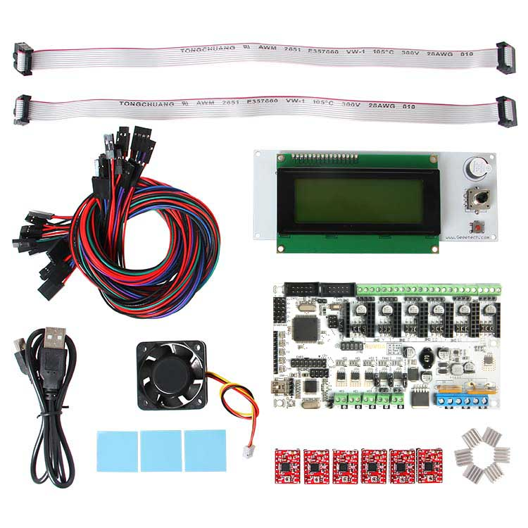 Geeetech Rumba board +cooler fan +LCD 2004 controller display +jumper wire ect Rumba control board kits for reprap 3D printer diy biqu rumba 3d printer rumba control board lcd 12864 controller display jumper wire a4988 driver for reprap 3d printer kit103