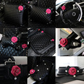 Camellia Series Sets Car Interior Accessories Leather Steering Wheel Cover Auto Crystal Headrest Pillows Tissue Box Armrest|leather steering wheel cover|steering wheel cover|wheel cover -