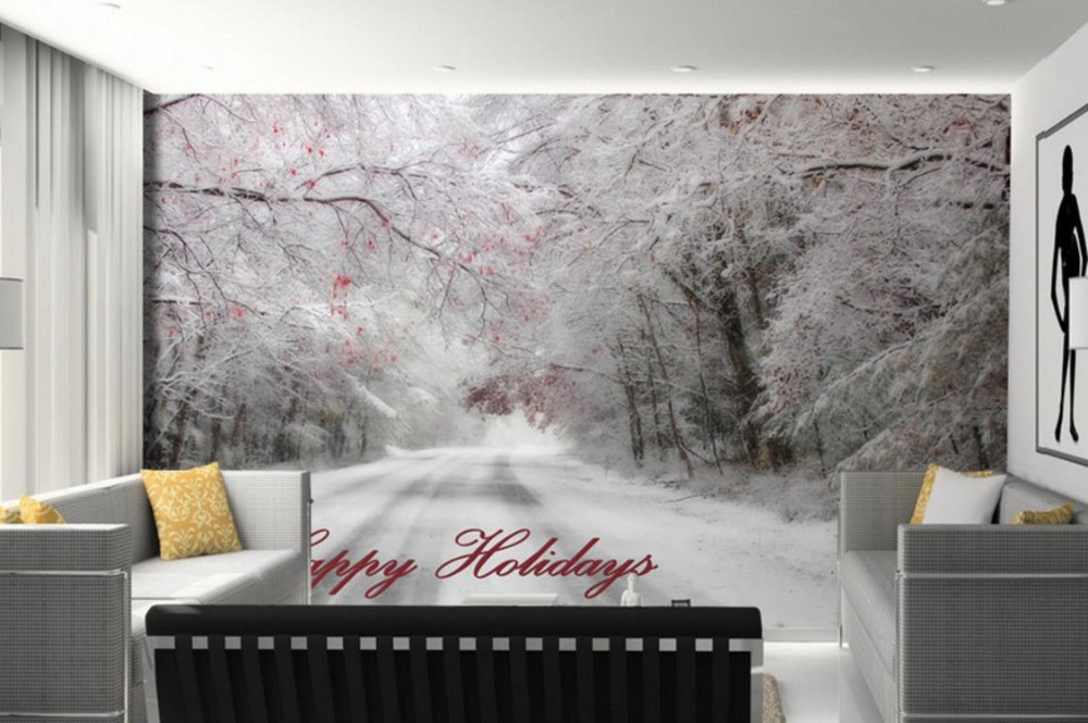 Beautiful Winter Nature Wallpaper Walls Snow Landscape Wall papers Home Decor Living room Wall Painting Design pair of delicate geometric faux gem earrings for women