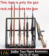 Hot Figures Accessory 1:6 DRAGON Model Wood Storage Gun Rack Modle Display Stand for 10-Gun for 12″ Figures
