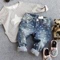 2-8Y nuevo 2016 del otoño del resorte alta calidad de los muchachos pantalones estrella de moda los niños los niños de los pantalones vaqueros pantalones de los muchachos