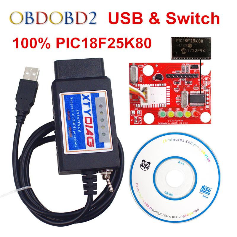 100% PIC18F25K80 Chip ELM327 V1.5 interruptor USB ELM 327/MS puede para Forscan OBD2 escáner de diagnóstico envío gratuito