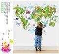 Завод прямые оптовые DIY ABC1001 карта мира детская комната стены наклейки бесплатная доставка