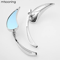 Mtsooning Motorcycle Rearview Mirrors 8mm 10mm Blade Teardrop Side Rear View Mirrors For Yamaha Harley Davidson