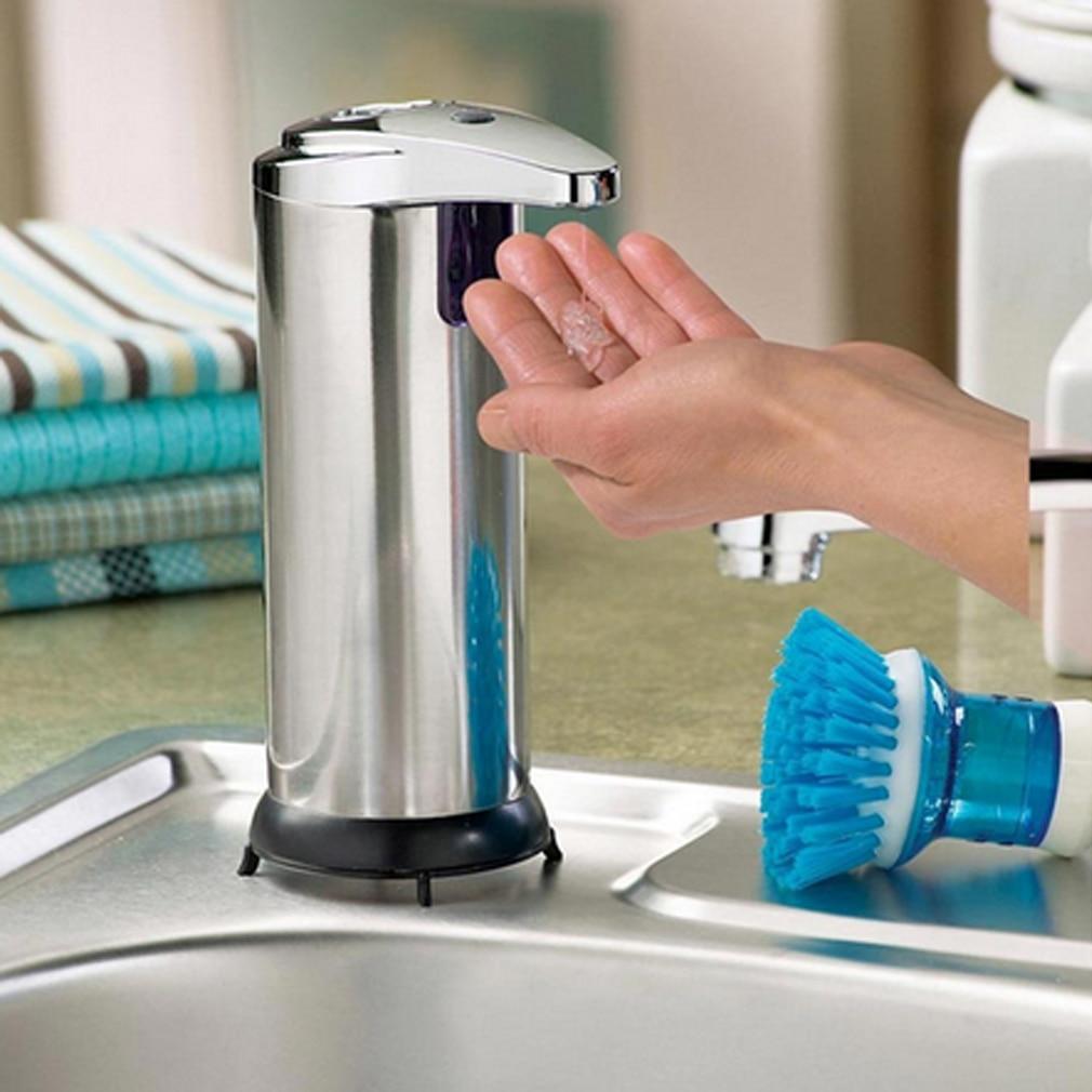 Genial Automatische Seife Spender Touchless Edelstahl Seife Dispenser Infrarot Motion Sensor Hand Frei Gericht Seife Hand Desinfektionsmittel Eleganter Auftritt Bad Hardware