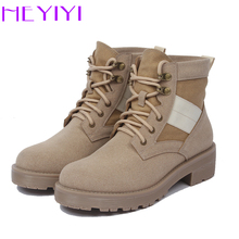 HEYIYI Women Boots Matin Shoes Super-defibrillators Leather Ankle Square Heel Platform Rubber Laces Comfortable Free Shipping