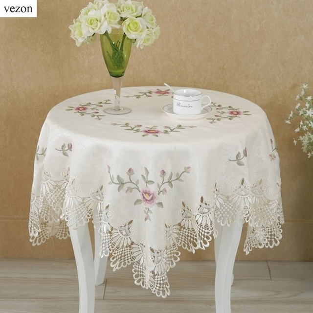 Vezon Hot Sale Square High Quality Elegant Polyester Jacquard Lace  Tablecloths For Wedding Party Home Table