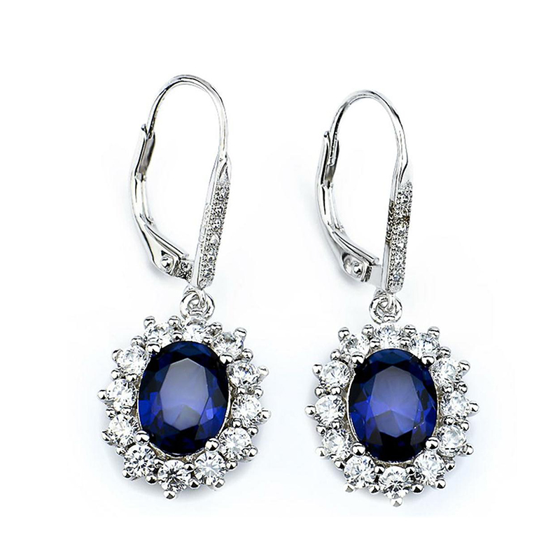 Sinya Drop-Earring Sapphire Fine-Jewelry Crystal-Brincos 925-Sterling-Silver White Blue
