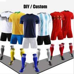 2018 DIY Sportswear Adult&Kids Football Set Custom Soccer Jerseys Soccer Training Youth Kits Blank Football Team Uniforms