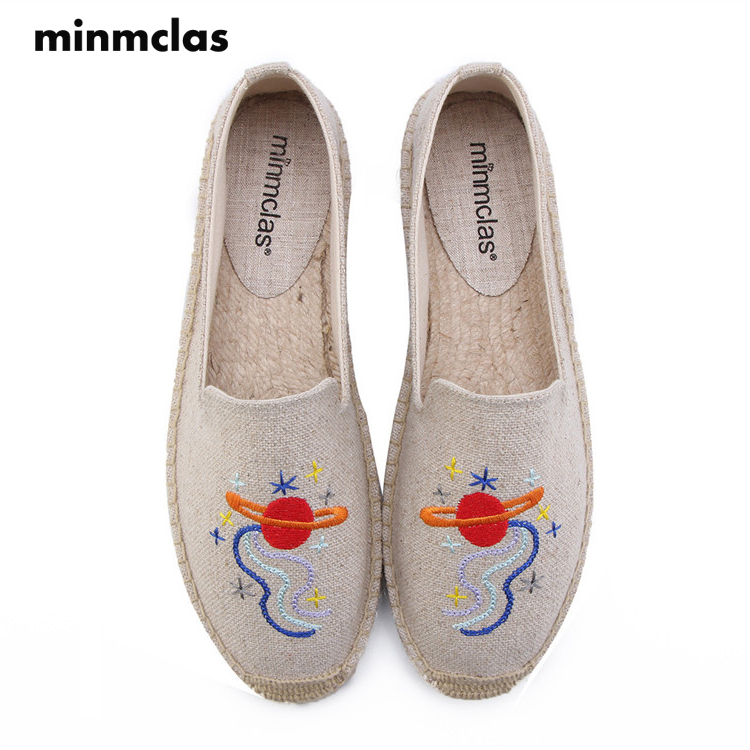 MInmclas New Space Lovely Slippers Comfortable Summer Womens Casual Espadrilles Shoes Breathable Flax Hemp Canvas Girl Shoes