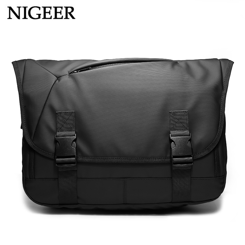 NIGEER Expansion Large Capacity Messenger Bags Men 14.6 inch Laptop Shoulder Bag Black Casual Travel Chest Bags Male n1805 kaka crossbody bags for men nylon waterproof chest pack bag multifunction large capacity male messenger shoulder bag casual