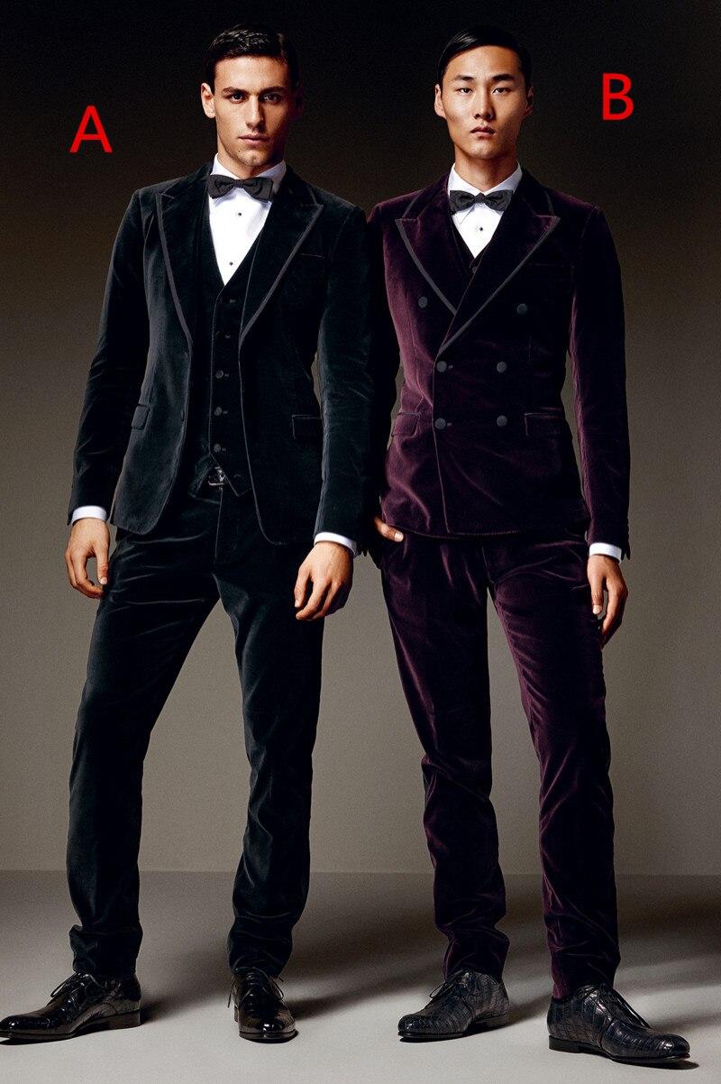 2017 Latest Coat Pant Design Black Purple Velvet Men Suit