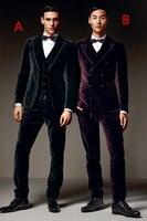 2017 latest coat Pantalones negro púrpura terciopelo pantalones 3 unidades chaqueta del novio del smoking prom estilo trajes Masculino