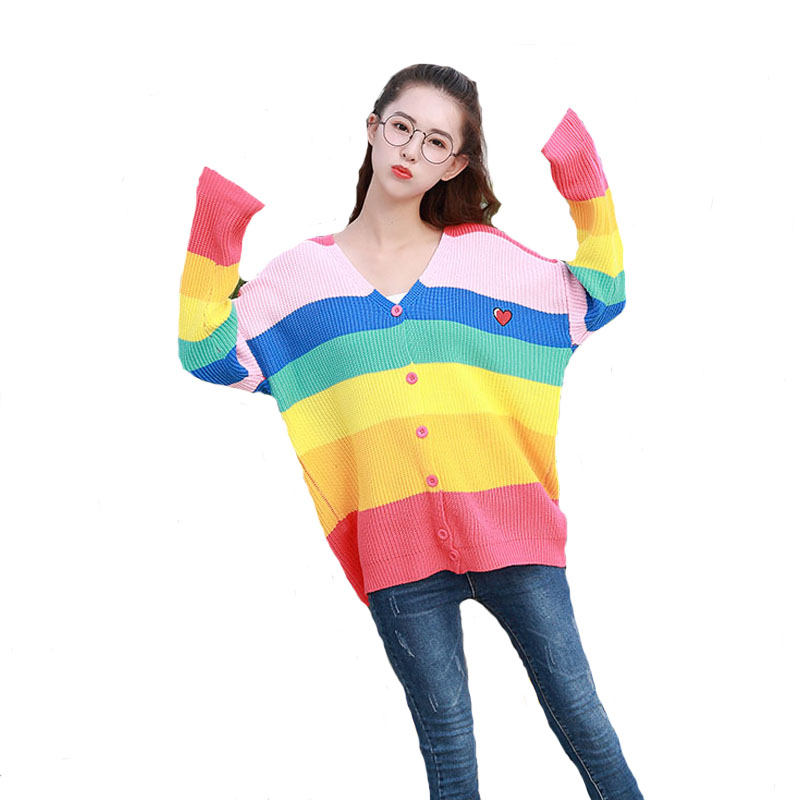 2018 Women New vintage warm sweaters Rainbow Striped pullovers 2018 winter Spring knitted retro loose knitted tops blusas knitting