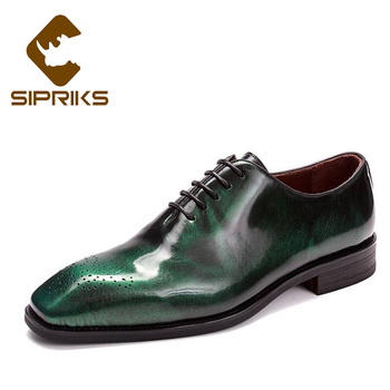 Sipriks Luxury Mens Whole Cut Oxfords Italian Handmade Goodyear Welted Shoes Mens Patent Leather Dress Shoe Dark Green Navy Blue Обувь