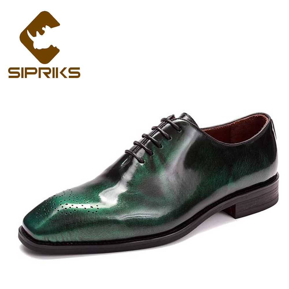 Sipriks Luxury Mens Whole Cut Oxfords Italian Handmade Goodyear Welted Shoes Mens Patent Leather Dress Shoe Dark Green Navy Blue