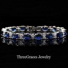 Oro Blanco clásico Chapado Oval Cut Cubic Zirconia Pavimenta Alta Calidad Creado Azul Zafiro Cristal Pulseras Para Las Mujeres BR015