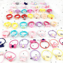 18pcs Childrens Cartoon Set Rubber Band 6 Mix Hair Band+ Fashion Cute Clip+ Candy color Rope For Girls