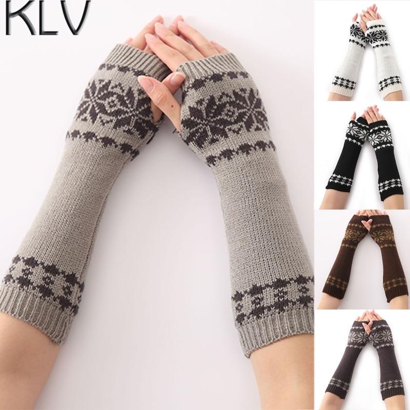 GemäßIgt Klv Winter Schneeflocke Muster Arm Warme Gestrickte Finger Lange Handschuhe Für Frauen Mädchen Damen-accessoires