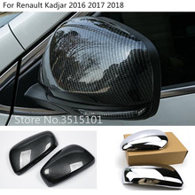car styling ABS Chrome/carbon fibre rear view Rearview Side glass Mirror Cover trim frame 2pcs For Renault Kadjar 2016 2017 2018 цена и фото