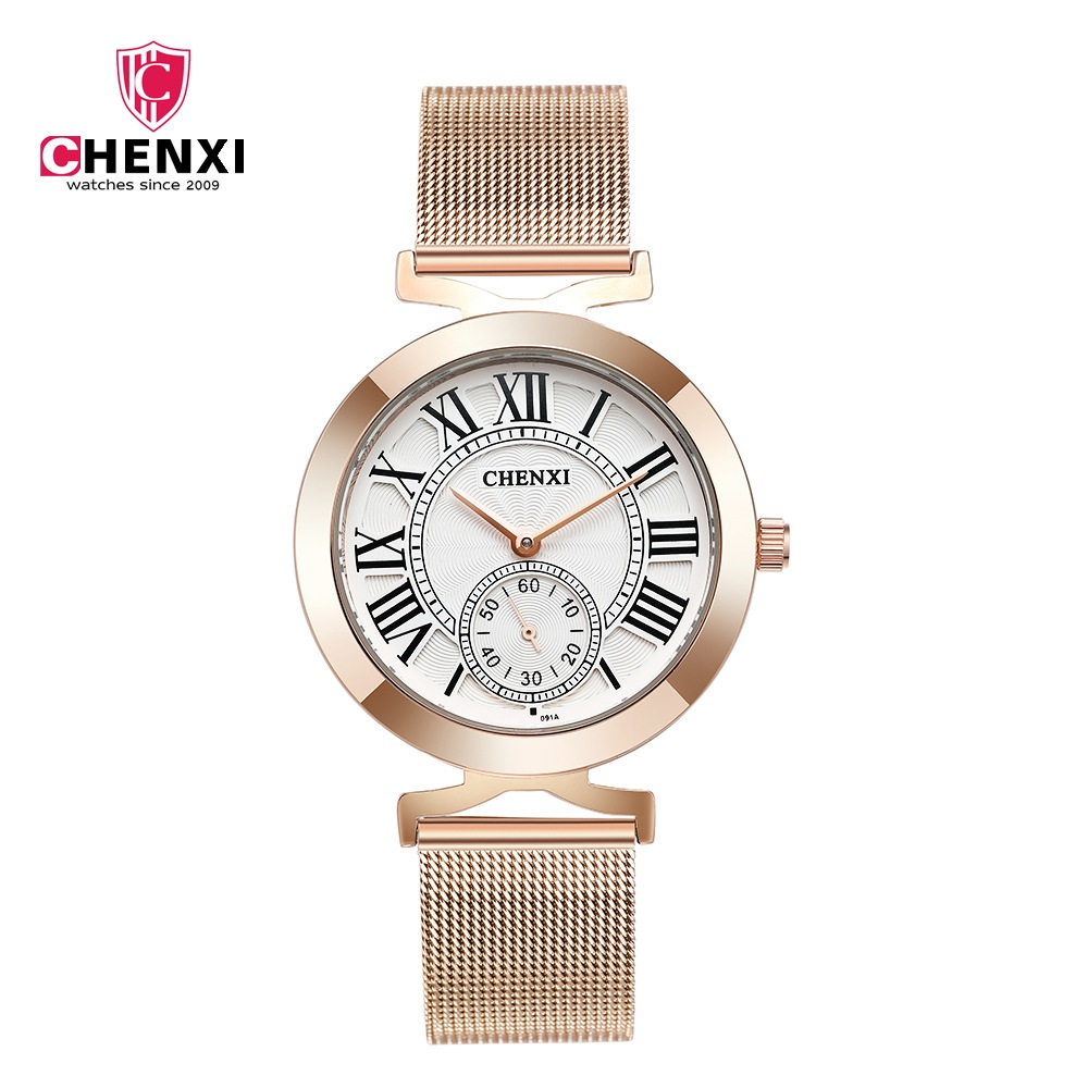 Luxury Brand CHENXI 2018 Retro Women Dress Watches Rose Gold Classic Roman Numeral Unique Stop Watch Lady Casual Business Clock