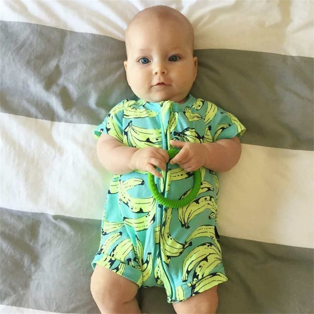44fc56522126 New Toddler Baby Summer Clothes Girl Boys Party Wear Little Baby Rompers  Banana Fitness Zipper Pajamas Newborn Take Home Outfits