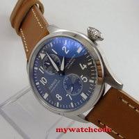 47 мм parnis серый циферблат коричневый ремешок Мощность резерв ST Автоматическая Мужские часы 273