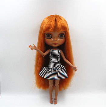 Blygirl Blyth doll Chocolate bangs Straight Nude Dolls Black Skin Joint Body 19 Joint DIY Dolls Can Change Makeup