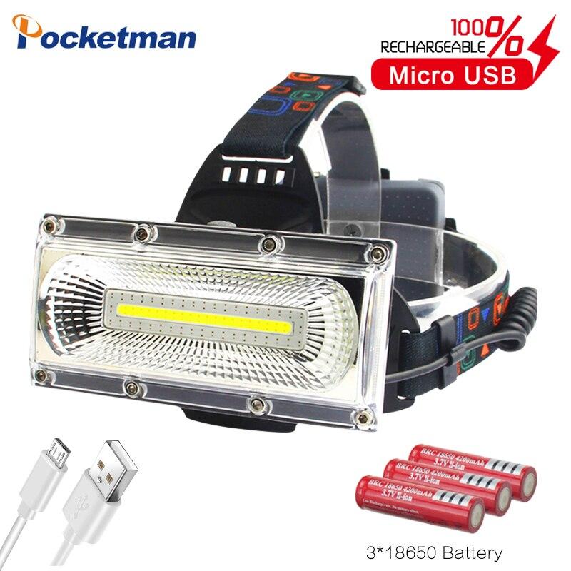 60000lm Power COB LED Headlight USB Rechargeable Head Lamp White&red&blue Light 3-Mode Headlamp Waterproof Hunting Lighting