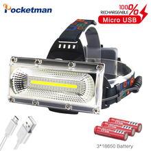 Công Suất Cao COB Led Đèn Pha Sạc USB Đầu Đèn Trắng Và Đỏ & Đèn 3 Chế Độ Đèn Pha LED Chống Thấm Nước săn Bắn Chiếu Sáng