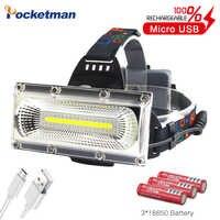 Lampe frontale Rechargeable USB haute puissance COB phare LED lumière blanche et rouge et bleue lampe frontale 3 modes éclairage de chasse étanche