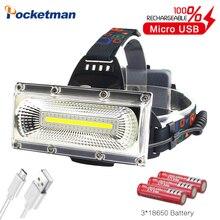 Yüksek güç COB LED far USB şarj edilebilir kafa lambası beyaz ve kırmızı ve mavi işık 3 Mode far su geçirmez avcılık aydınlatma