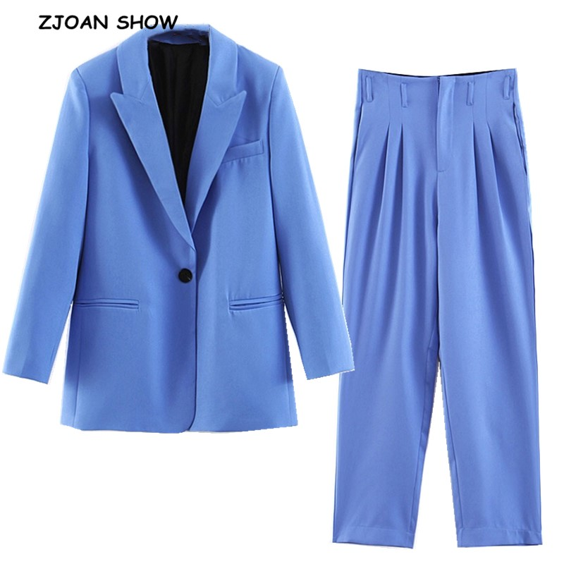 2019 New Spring BF Style One Button Women Mid Long Blazer Light Blue Pleat High Waist Harem Pants Long Sleeve Suits 2 Pieces Set