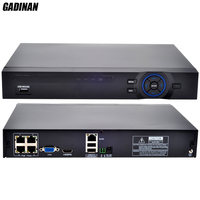 GADINAN 4CH 1080P HDMI P2P POE NVR 48V Input IEEE802 3af PoE Switch Inside ONVIF XMEYE